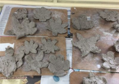 Clay Flower Sculptures   Stratford St Mary Primary School